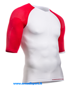 COMPRESSPORT - ON/OFF MULTISPORT SHIRT M/C BIANCO ROSSO